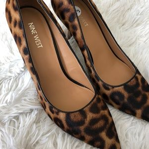 NWOT Nine West Leopard Print Calf Hair Heels